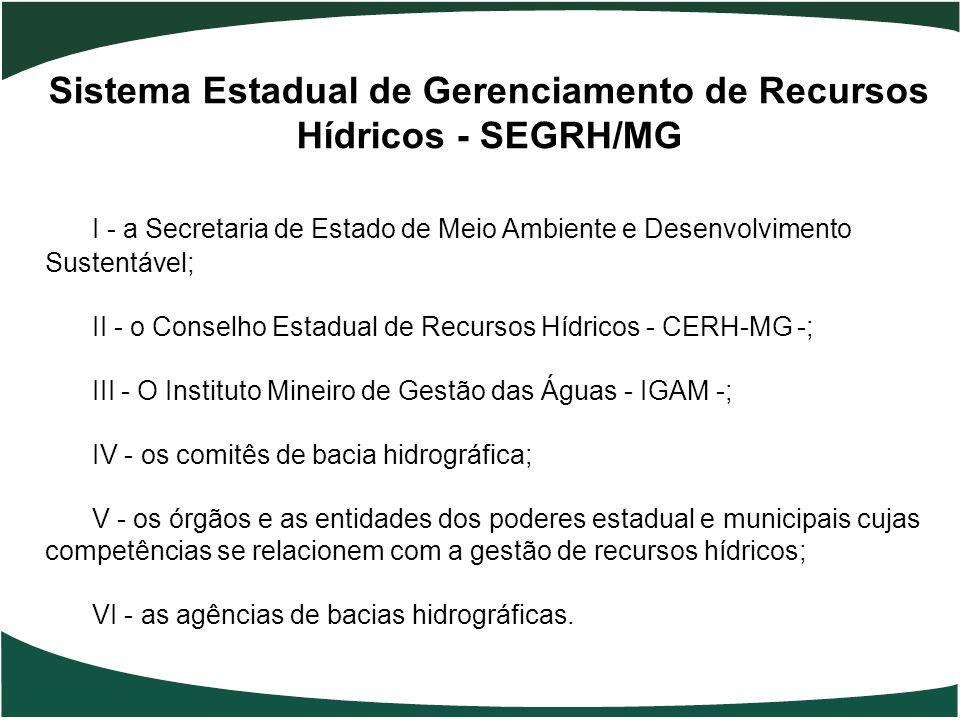 Sistema Estadual de Gerenciamento de Recursos Hídricos - SEGRH/MG I - a Secretaria de Estado de Meio Ambiente e Desenvolvimento Sustentável; II - o Co
