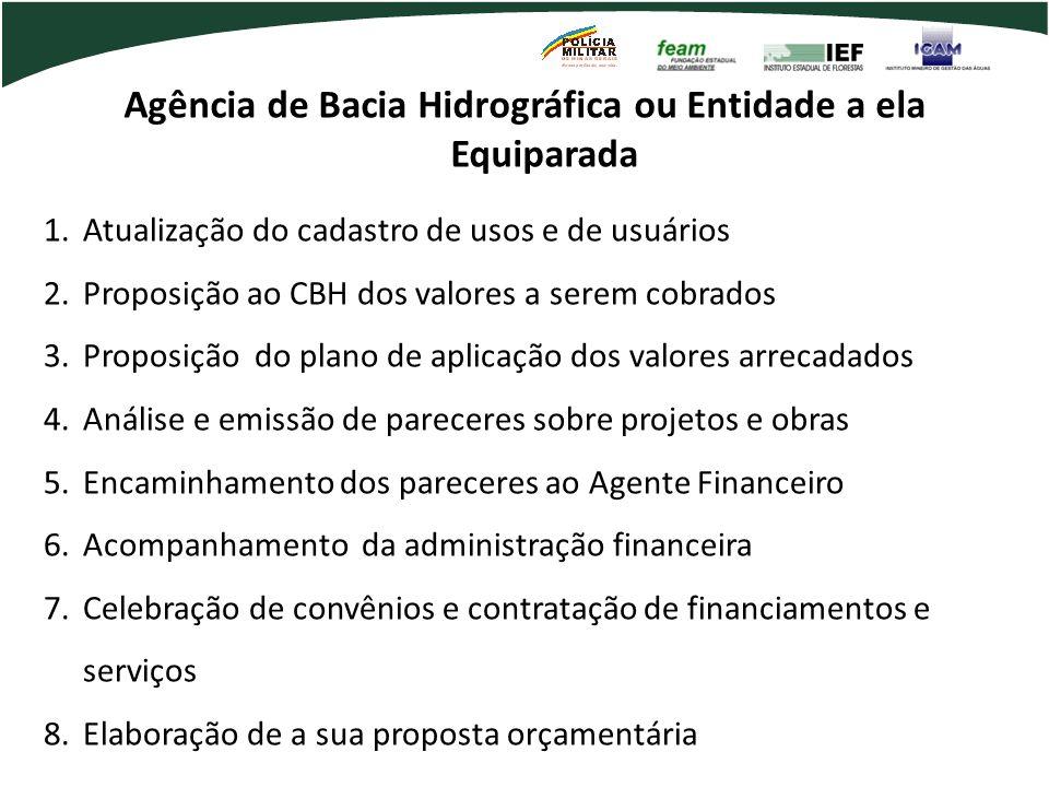 Agência de Bacia Hidrográfica ou Entidade a ela Equiparada 1.Atualização do cadastro de usos e de usuários 2.Proposição ao CBH dos valores a serem cob