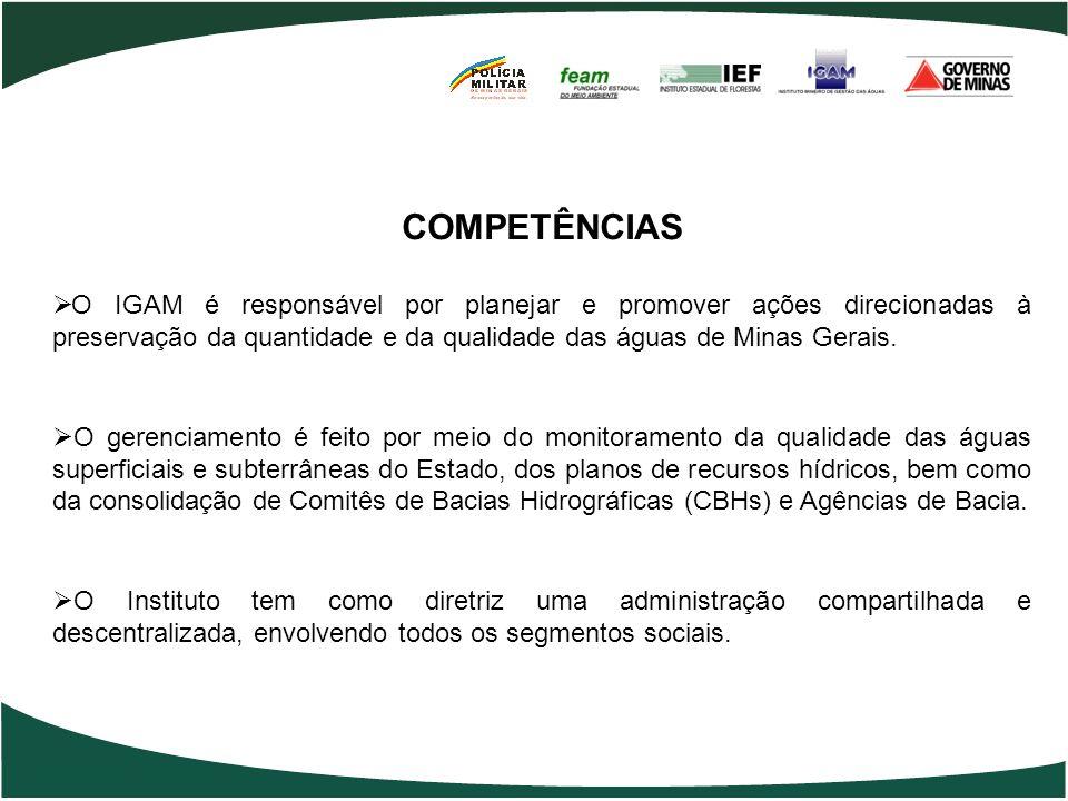 COMPETÊNCIAS O IGAM é responsável por planejar e promover ações direcionadas à preservação da quantidade e da qualidade das águas de Minas Gerais. O g