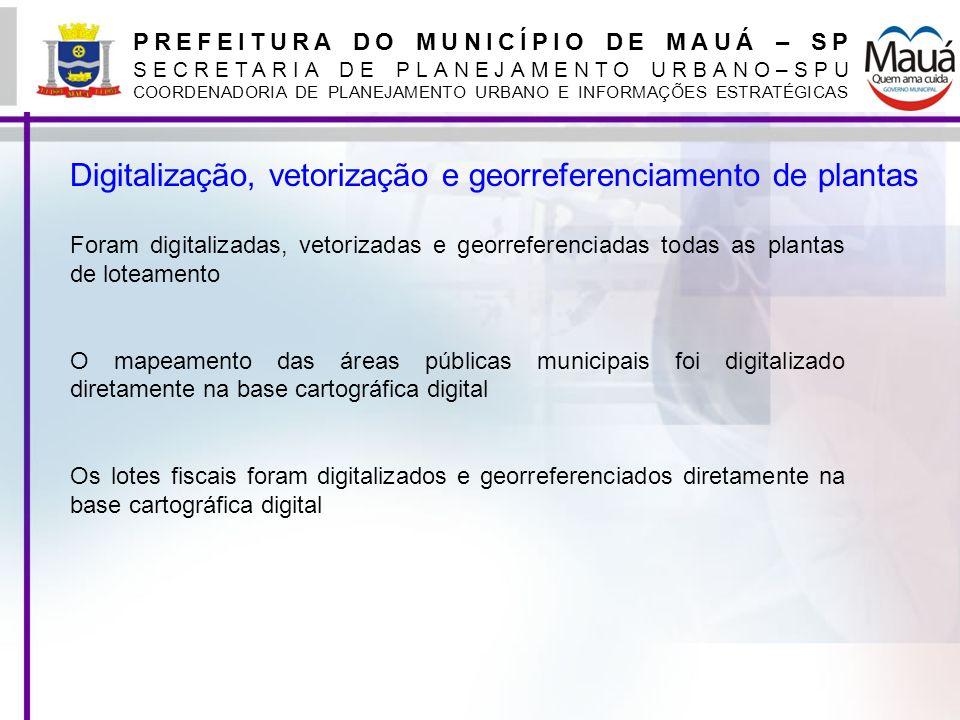 PREFEITURA DO MUNICÍPIO DE MAUÁ – SP SECRETARIA DE PLANEJAMENTO URBANO–SPU COORDENADORIA DE PLANEJAMENTO URBANO E INFORMAÇÕES ESTRATÉGICAS Digitalizaç