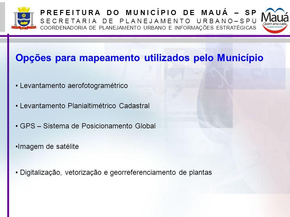 PREFEITURA DO MUNICÍPIO DE MAUÁ – SP SECRETARIA DE PLANEJAMENTO URBANO–SPU COORDENADORIA DE PLANEJAMENTO URBANO E INFORMAÇÕES ESTRATÉGICAS Opções para