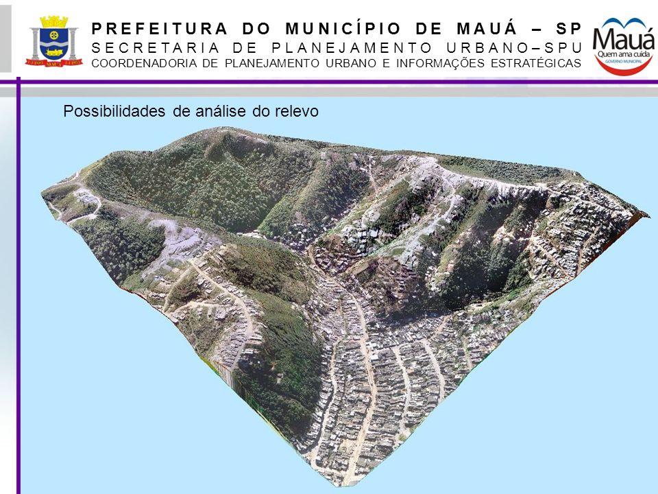 PREFEITURA DO MUNICÍPIO DE MAUÁ – SP SECRETARIA DE PLANEJAMENTO URBANO–SPU COORDENADORIA DE PLANEJAMENTO URBANO E INFORMAÇÕES ESTRATÉGICAS Levantamento aerofotogramétrico A partir do levantamento aerofotogramétrico de 2000, iniciou-se o mapeamento de diversas informações, visando sistematizá-las para aplicação em diferentes políticas públicas A partir do levantamento de 2010, iniciamos a conversão das informações anteriormente mapeadas para o SIRGAS Ainda com base no levantamento de 2010, expandimos os temas mapeados, com foco as políticas sociais, como por exemplo o georreferenciamento dos cadastros do bolsa família, bolsa aluguel e Programa Minha Casa Minha Vida.