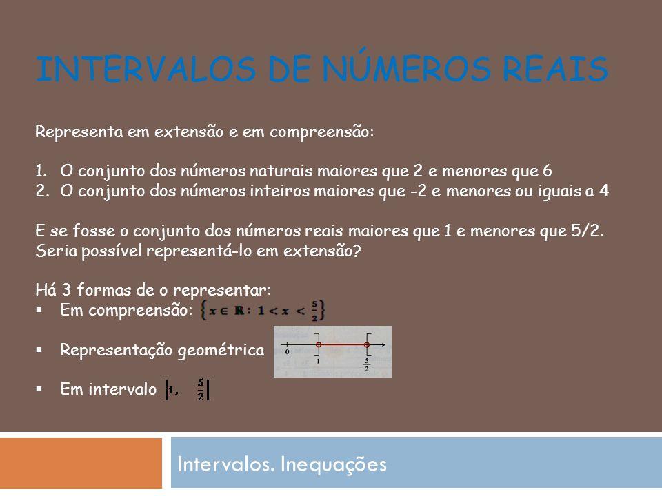 INTERVALOS DE NÚMEROS REAIS Intervalos.