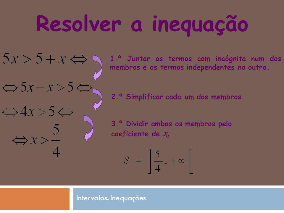 Resolver a inequação 1.º Juntar os termos com incógnita num dos membros e os termos independentes no outro.