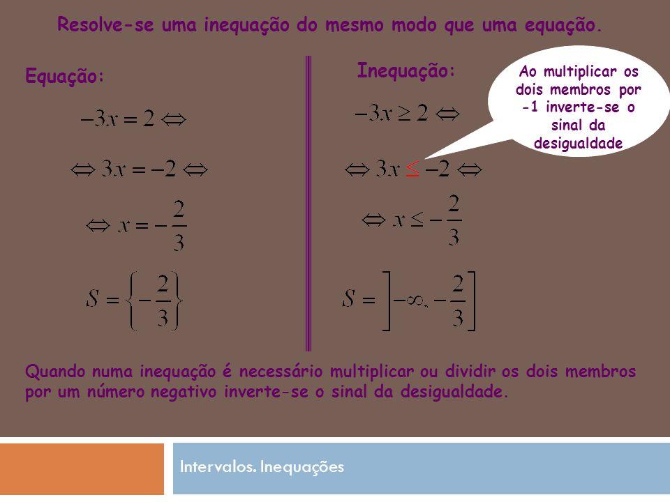 Equação: Inequação: Quando numa inequação é necessário multiplicar ou dividir os dois membros por um número negativo inverte-se o sinal da desigualdade.