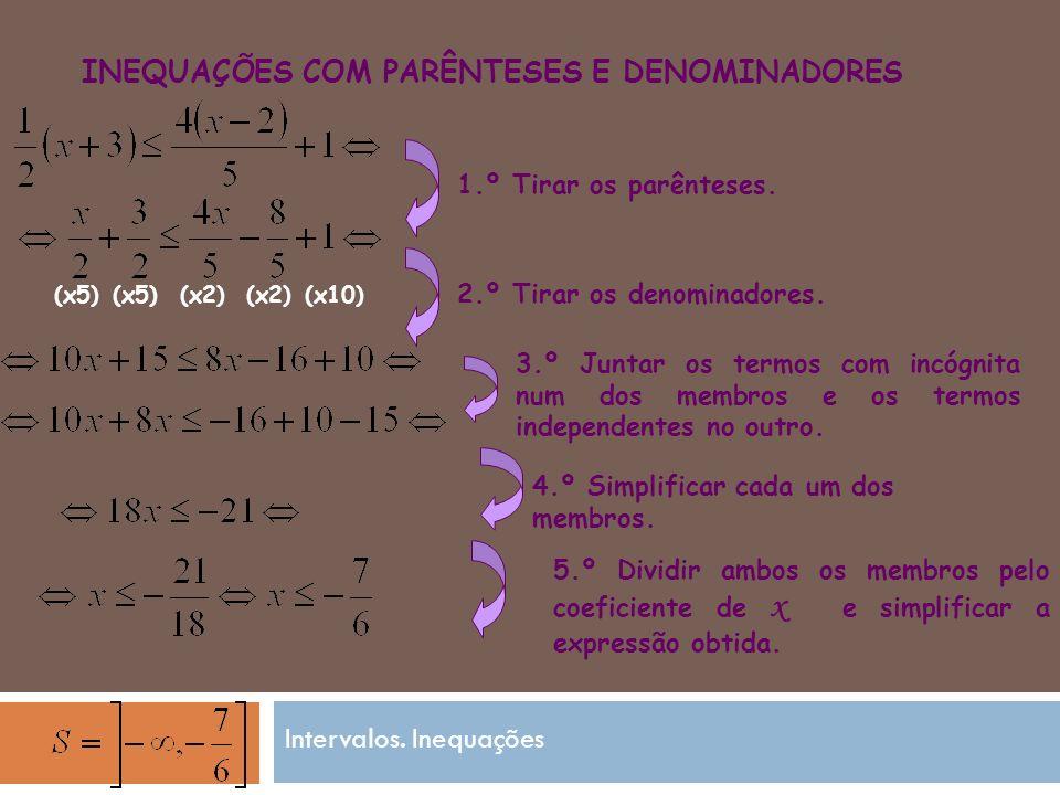 INEQUAÇÕES COM PARÊNTESES E DENOMINADORES 4.º Simplificar cada um dos membros.