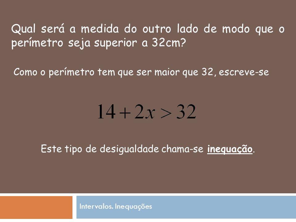 Qual será a medida do outro lado de modo que o perímetro seja superior a 32cm.
