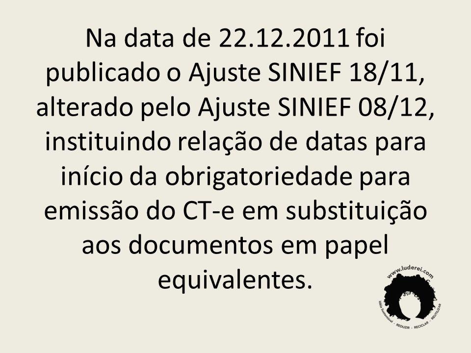 Na data de 22.12.2011 foi publicado o Ajuste SINIEF 18/11, alterado pelo Ajuste SINIEF 08/12, instituindo relação de datas para início da obrigatoried