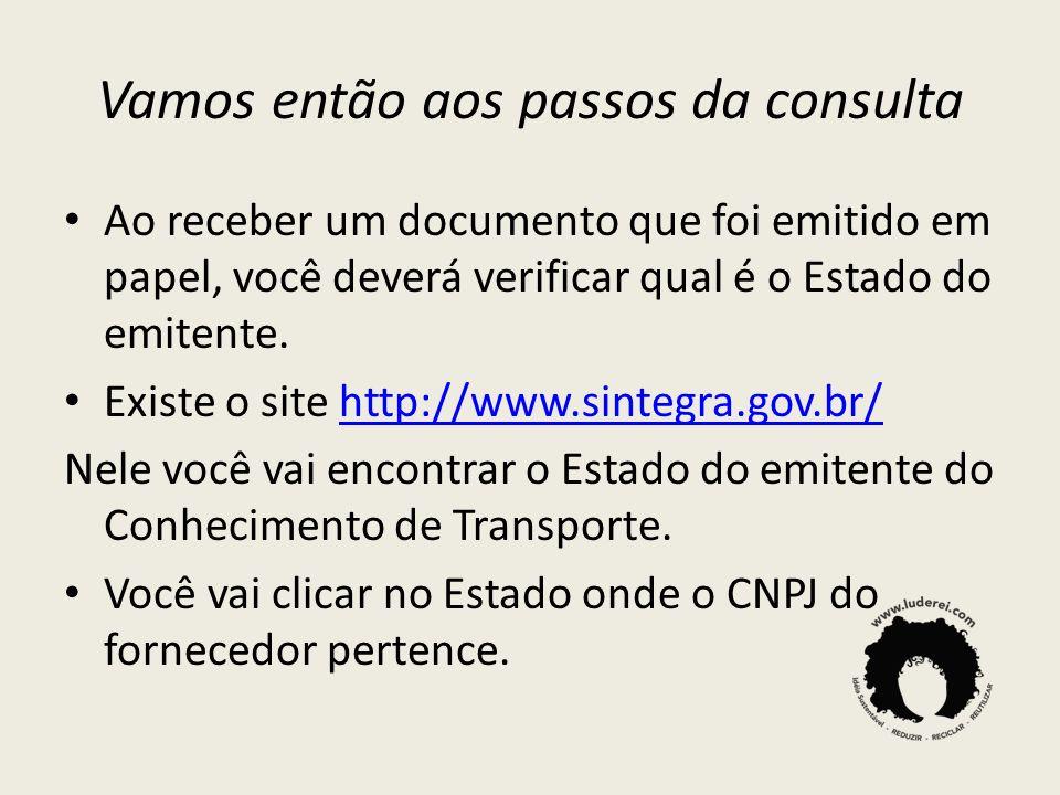 Vamos então aos passos da consulta Ao receber um documento que foi emitido em papel, você deverá verificar qual é o Estado do emitente. Existe o site