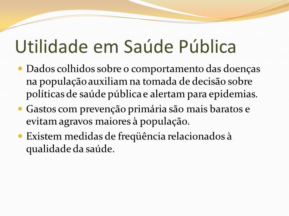 Utilidade em Saúde Pública Dados colhidos sobre o comportamento das doenças na população auxiliam na tomada de decisão sobre políticas de saúde públic