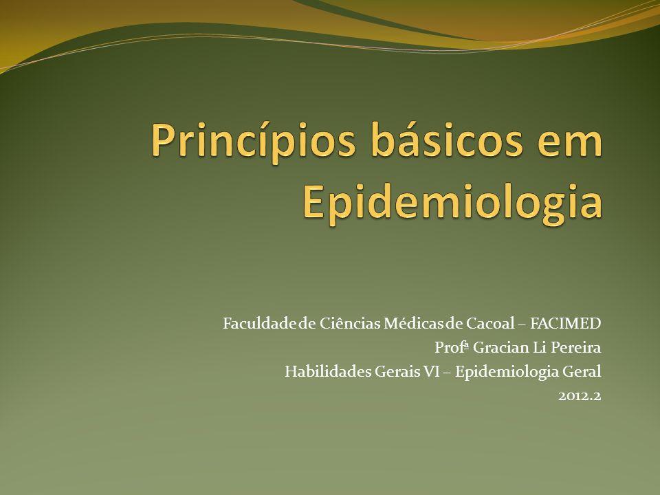 Faculdade de Ciências Médicas de Cacoal – FACIMED Profª Gracian Li Pereira Habilidades Gerais VI – Epidemiologia Geral 2012.2