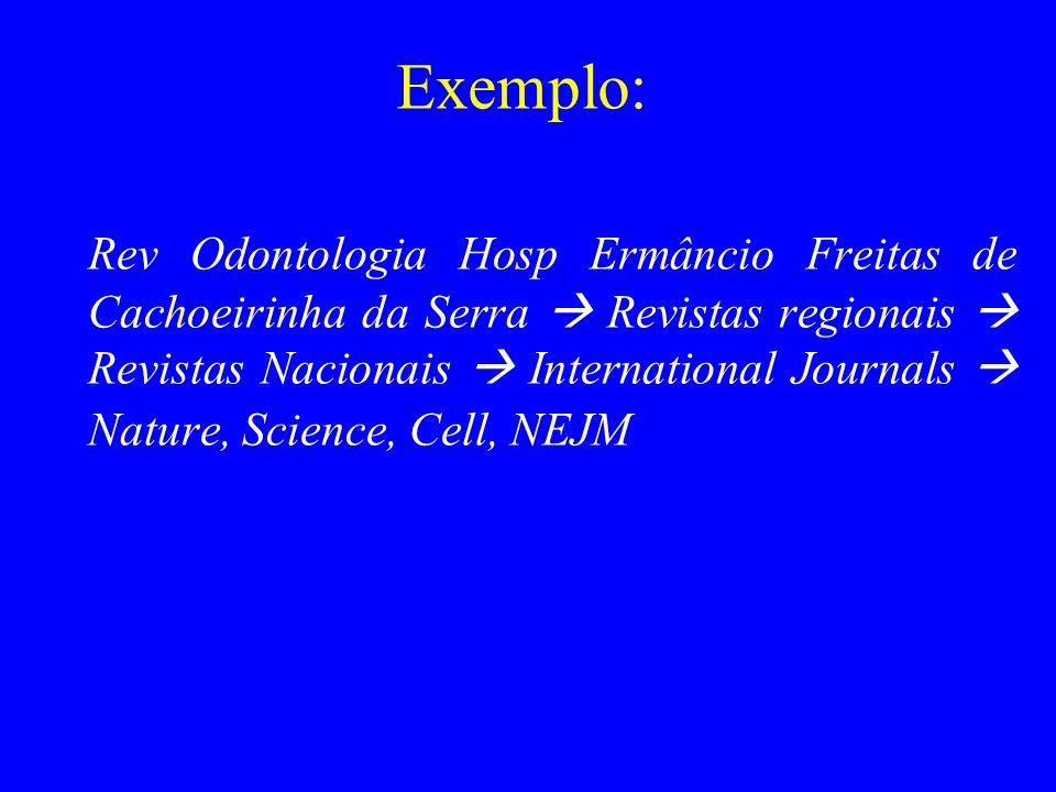 Exemplo: Rev Odontologia Hosp Ermâncio Freitas de Cachoeirinha da Serra Revistas regionais Revistas Nacionais International Journals Nature, Science,