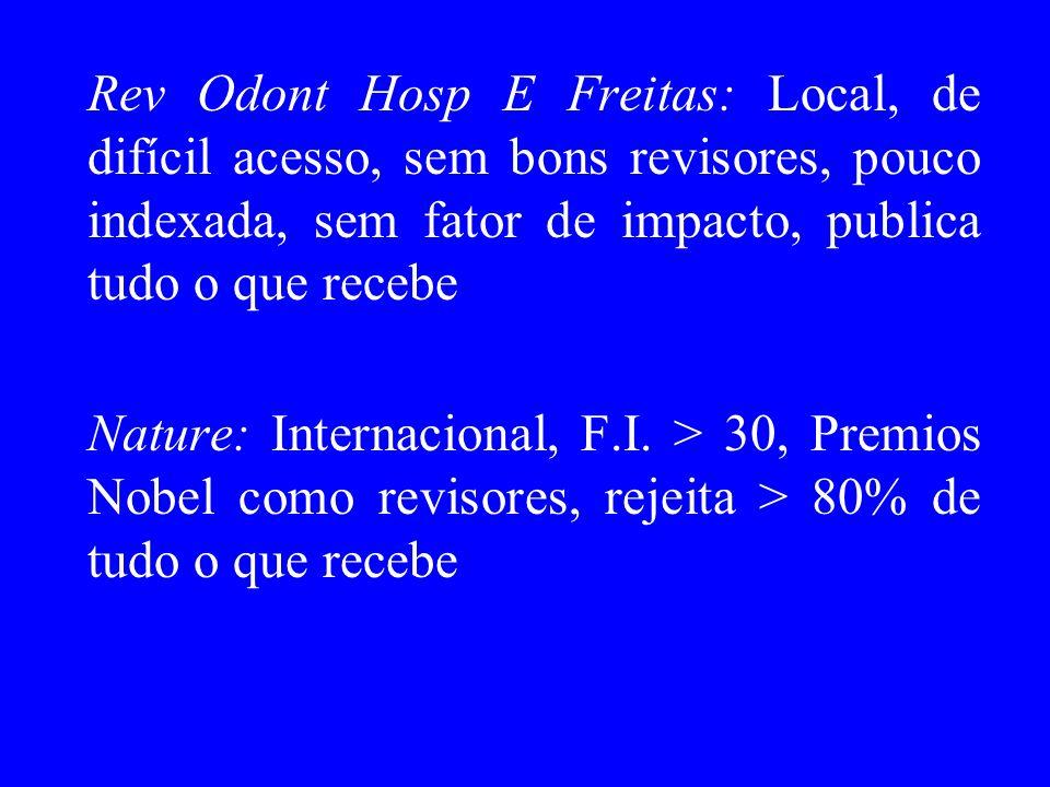 Rev Odont Hosp E Freitas: Local, de difícil acesso, sem bons revisores, pouco indexada, sem fator de impacto, publica tudo o que recebe Nature: Intern