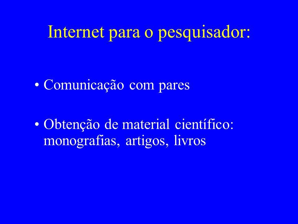 Internet para o pesquisador: Comunicação com pares Obtenção de material científico: monografias, artigos, livros