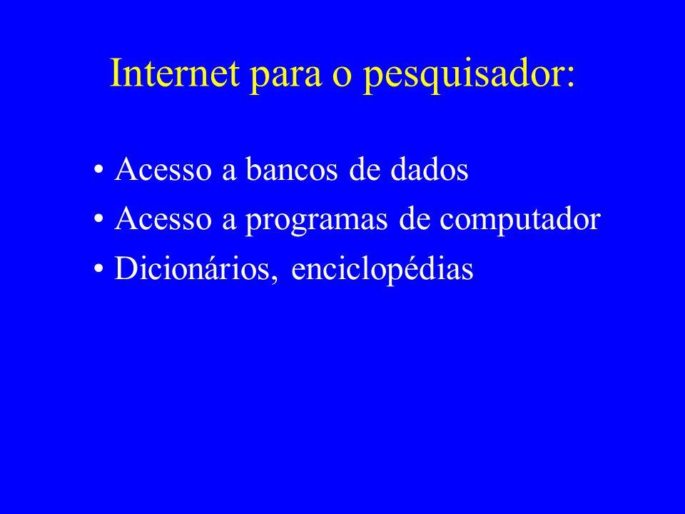 Internet para o pesquisador: Acesso a bancos de dados Acesso a programas de computador Dicionários, enciclopédias
