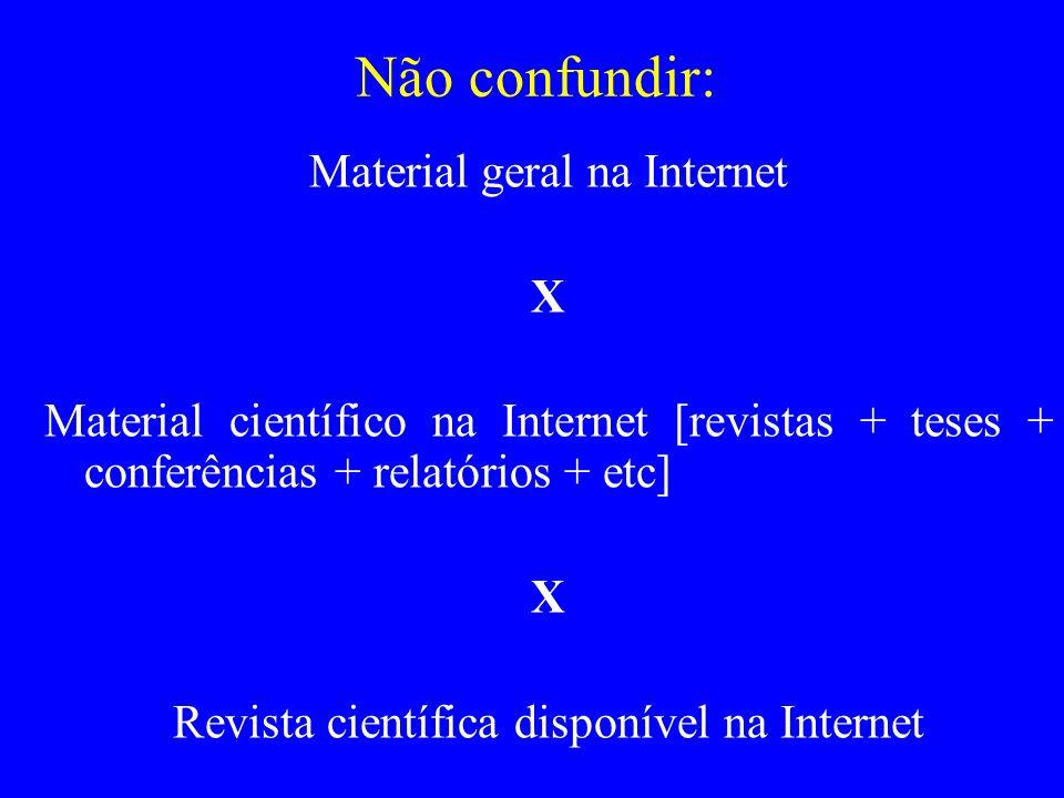 Não confundir: Material geral na Internet X Material científico na Internet [revistas + teses + conferências + relatórios + etc] X Revista científica