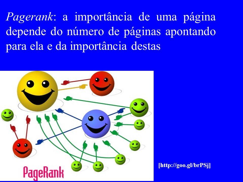 Pagerank: a importância de uma página depende do número de páginas apontando para ela e da importância destas [http://goo.gl/brPSj]