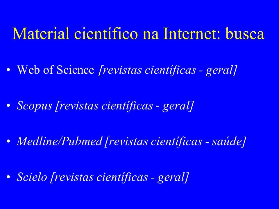 Material científico na Internet: busca Web of Science [revistas científicas - geral] Scopus [revistas científicas - geral] Medline/Pubmed [revistas ci