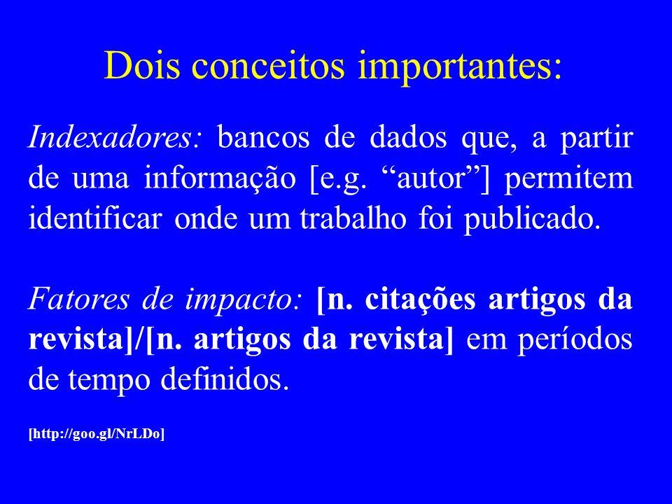 Dois conceitos importantes: Indexadores: bancos de dados que, a partir de uma informação [e.g. autor] permitem identificar onde um trabalho foi public