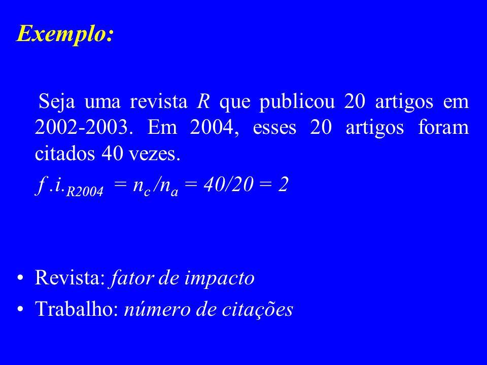Exemplo: Seja uma revista R que publicou 20 artigos em 2002-2003. Em 2004, esses 20 artigos foram citados 40 vezes. f.i. R2004 = n c /n a = 40/20 = 2