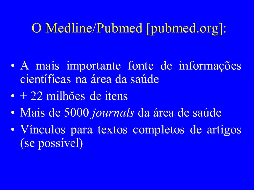 O Medline/Pubmed [pubmed.org]: A mais importante fonte de informações científicas na área da saúde + 22 milhões de itens Mais de 5000 journals da área