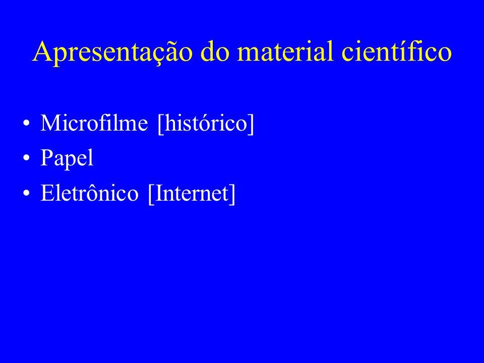 Apresentação do material científico Microfilme [histórico] Papel Eletrônico [Internet]