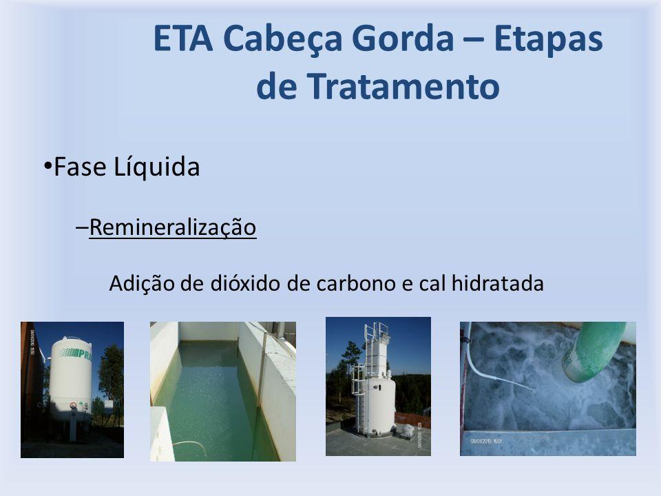 ETA Cabeça Gorda – Etapas de Tratamento Fase Líquida –Remineralização Adição de dióxido de carbono e cal hidratada
