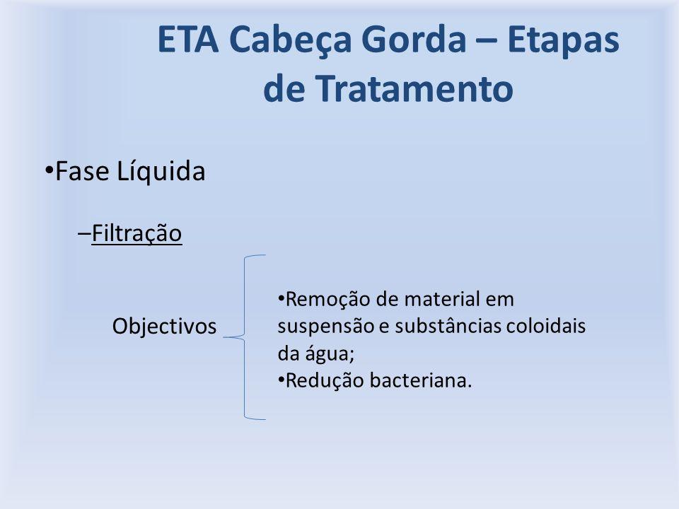 ETA Cabeça Gorda – Etapas de Tratamento Fase Líquida –Filtração Objectivos Remoção de material em suspensão e substâncias coloidais da água; Redução bacteriana.