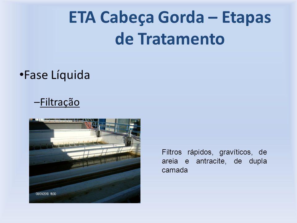 ETA Cabeça Gorda – Etapas de Tratamento Fase Líquida –Filtração Filtros rápidos, gravíticos, de areia e antracite, de dupla camada