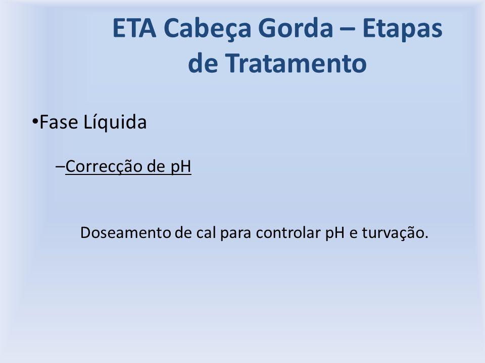 ETA Cabeça Gorda – Etapas de Tratamento Fase Líquida –Correcção de pH Doseamento de cal para controlar pH e turvação.