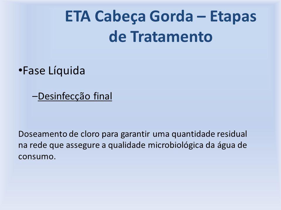 ETA Cabeça Gorda – Etapas de Tratamento Fase Líquida –Desinfecção final Doseamento de cloro para garantir uma quantidade residual na rede que assegure a qualidade microbiológica da água de consumo.