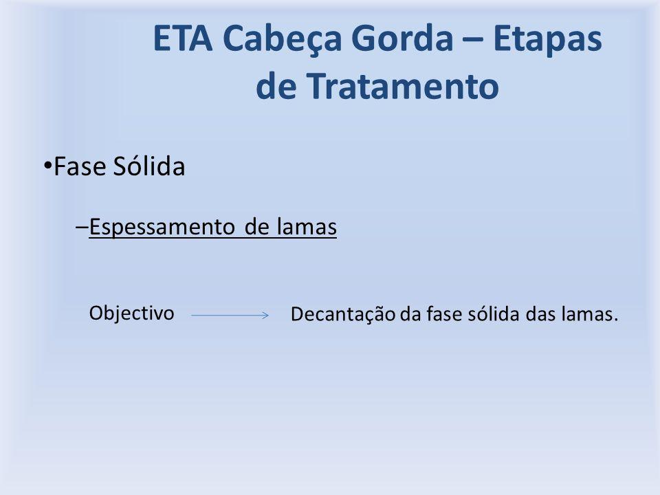 ETA Cabeça Gorda – Etapas de Tratamento Fase Sólida –Espessamento de lamas Objectivo Decantação da fase sólida das lamas.