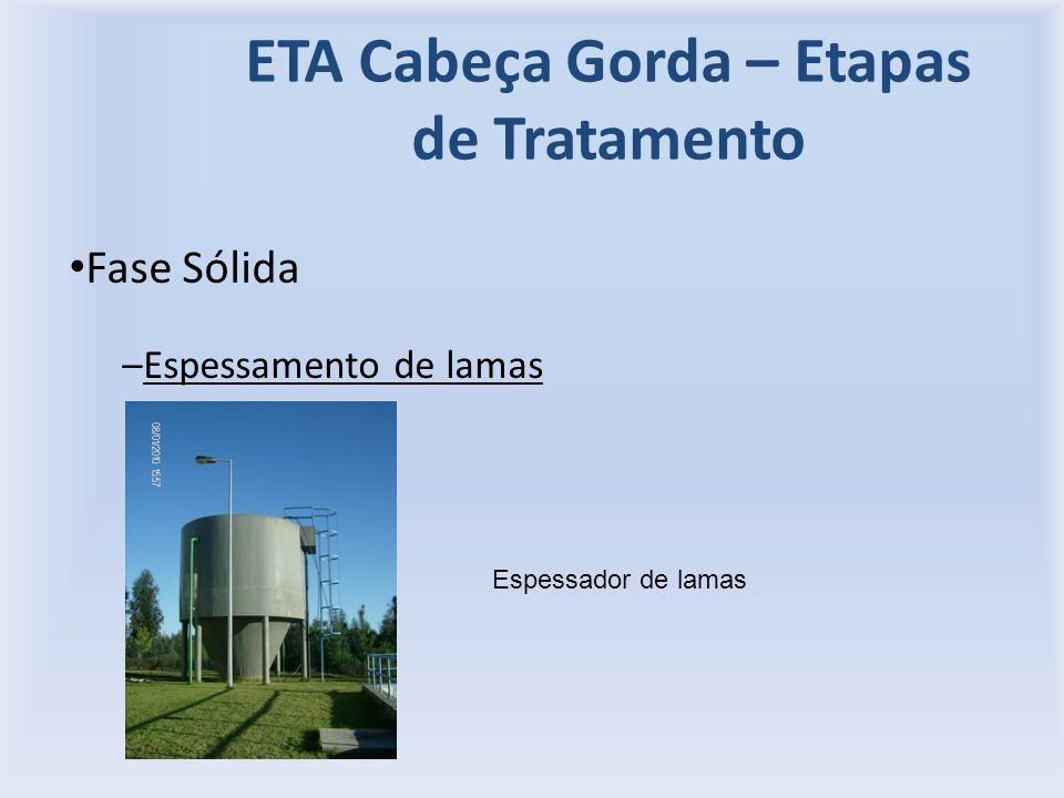 ETA Cabeça Gorda – Etapas de Tratamento Fase Sólida –Espessamento de lamas Espessador de lamas