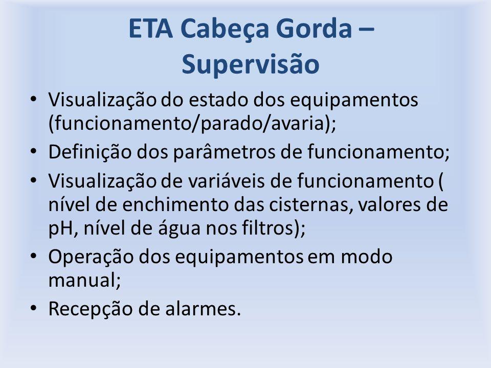 ETA Cabeça Gorda – Supervisão Visualização do estado dos equipamentos (funcionamento/parado/avaria); Definição dos parâmetros de funcionamento; Visualização de variáveis de funcionamento ( nível de enchimento das cisternas, valores de pH, nível de água nos filtros); Operação dos equipamentos em modo manual; Recepção de alarmes.