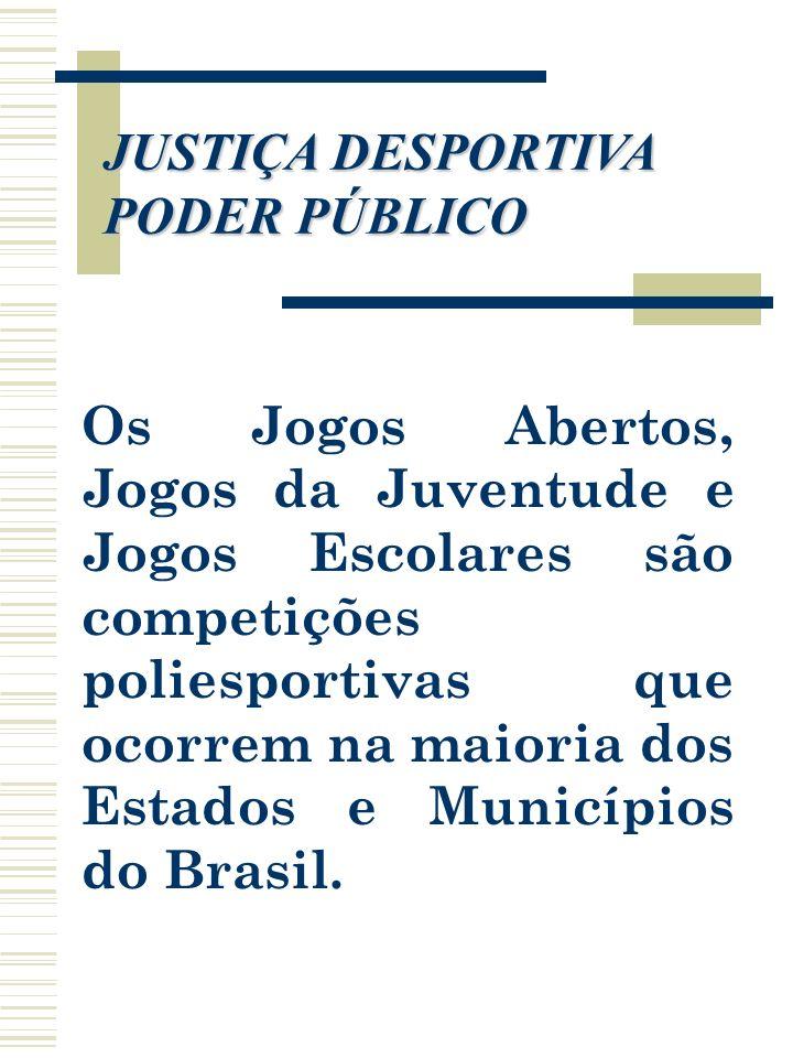 Os Jogos Abertos, Jogos da Juventude e Jogos Escolares são competições poliesportivas que ocorrem na maioria dos Estados e Municípios do Brasil. JUSTI