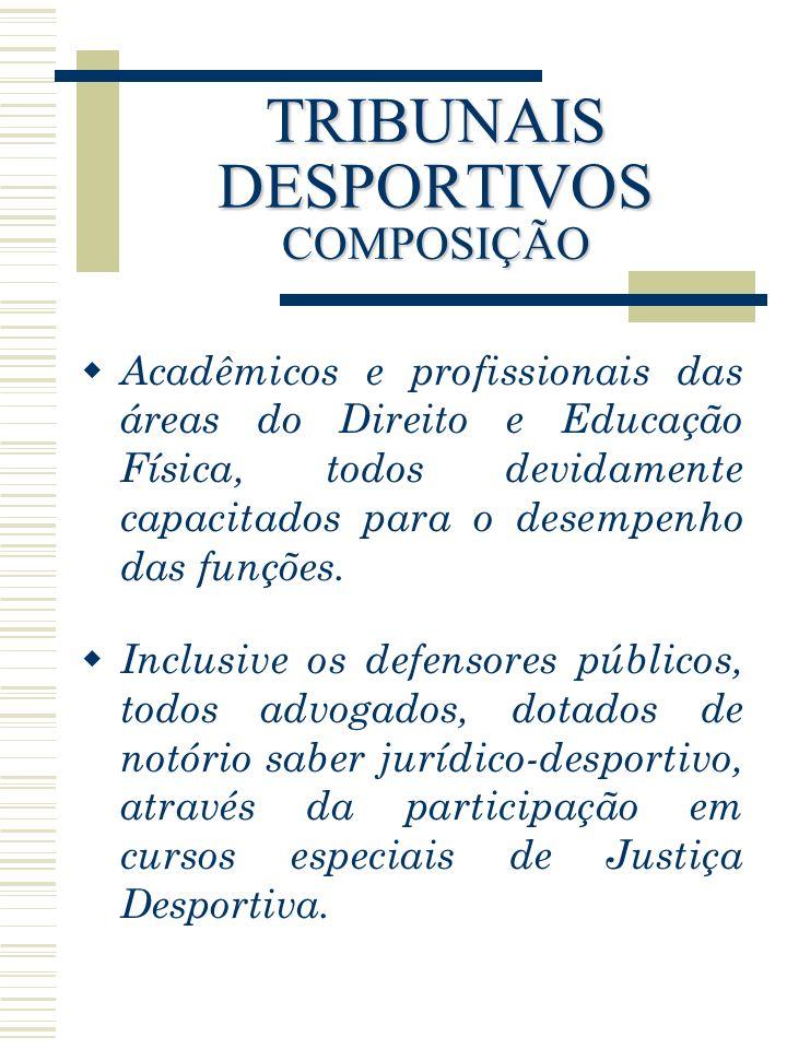 TRIBUNAIS DESPORTIVOS COMPOSIÇÃO Acadêmicos e profissionais das áreas do Direito e Educação Física, todos devidamente capacitados para o desempenho da