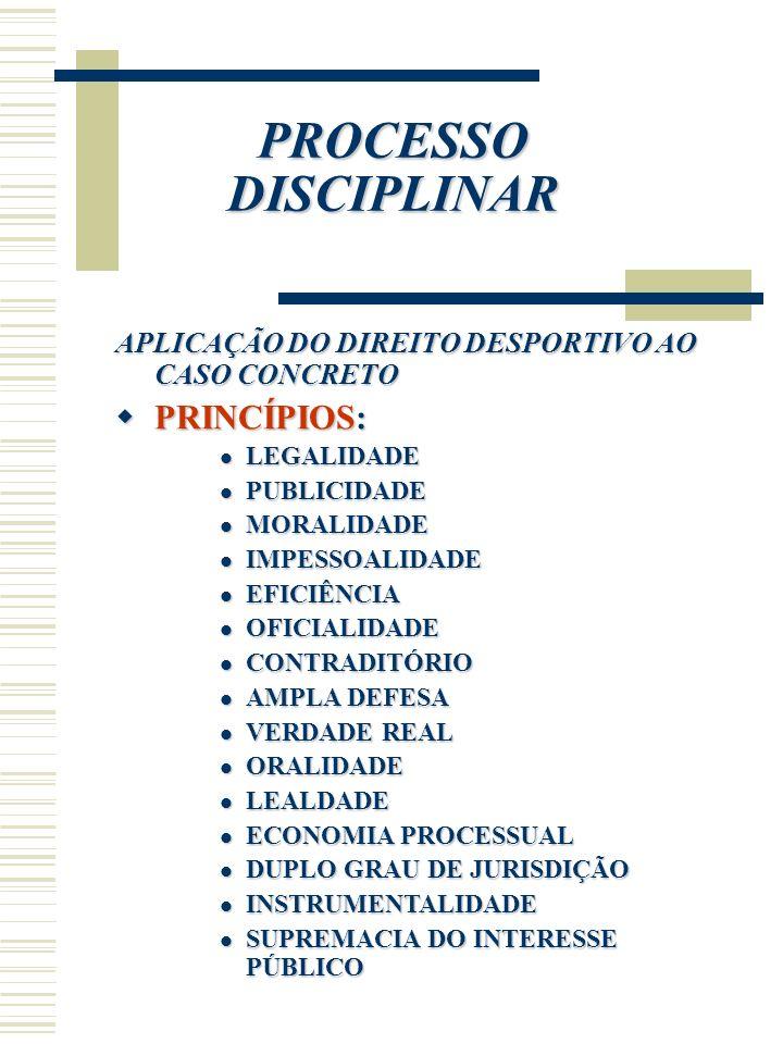 PROCESSO DISCIPLINAR APLICAÇÃO DO DIREITO DESPORTIVO AO CASO CONCRETO PRINCÍPIOS: PRINCÍPIOS: LEGALIDADE LEGALIDADE PUBLICIDADE PUBLICIDADE MORALIDADE