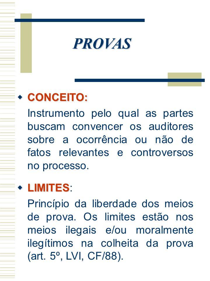 PROVAS CONCEITO: CONCEITO: Instrumento pelo qual as partes buscam convencer os auditores sobre a ocorrência ou não de fatos relevantes e controversos