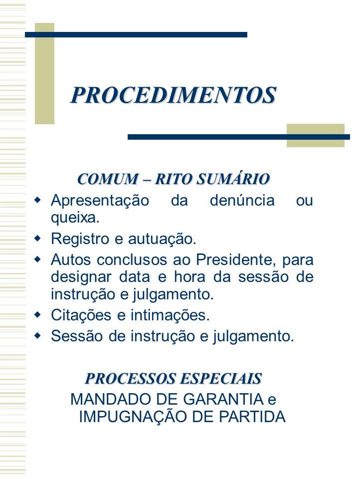 PROCEDIMENTOS COMUM – RITO SUMÁRIO Apresentação da denúncia ou queixa. Registro e autuação. Autos conclusos ao Presidente, para designar data e hora d