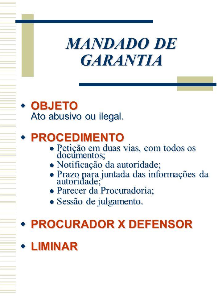 MANDADO DE GARANTIA OBJETO OBJETO Ato abusivo ou ilegal. PROCEDIMENTO PROCEDIMENTO Petição em duas vias, com todos os documentos; Petição em duas vias