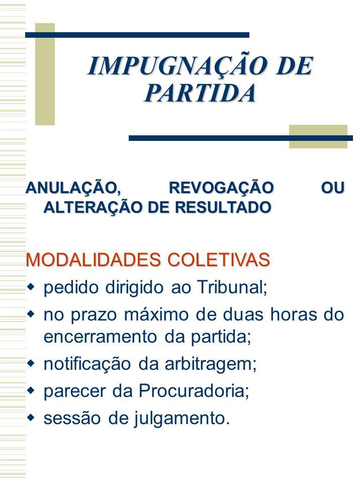 IMPUGNAÇÃO DE PARTIDA ANULAÇÃO, REVOGAÇÃO OU ALTERAÇÃO DE RESULTADO MODALIDADES COLETIVAS pedido dirigido ao Tribunal; no prazo máximo de duas horas d