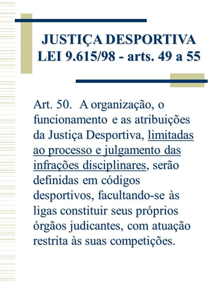 JUSTIÇA DESPORTIVA LEI 9.615/98 - arts. 49 a 55 Art. 50. A organização, o funcionamento e as atribuições da Justiça Desportiva, limitadas ao processo