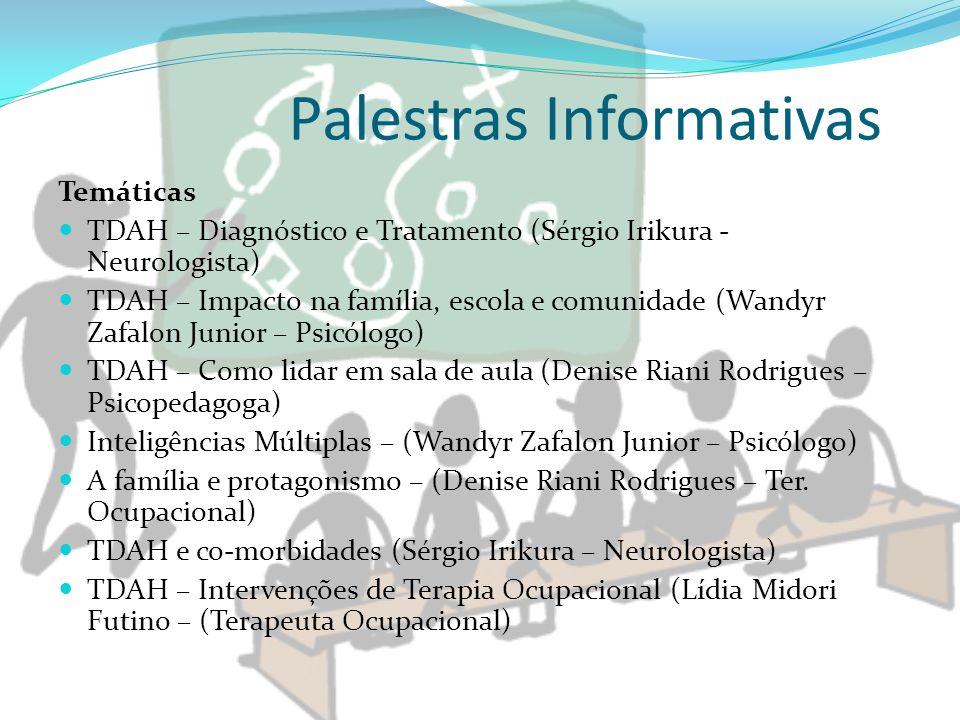 Palestras Informativas Temáticas TDAH – Diagnóstico e Tratamento (Sérgio Irikura - Neurologista) TDAH – Impacto na família, escola e comunidade (Wandy