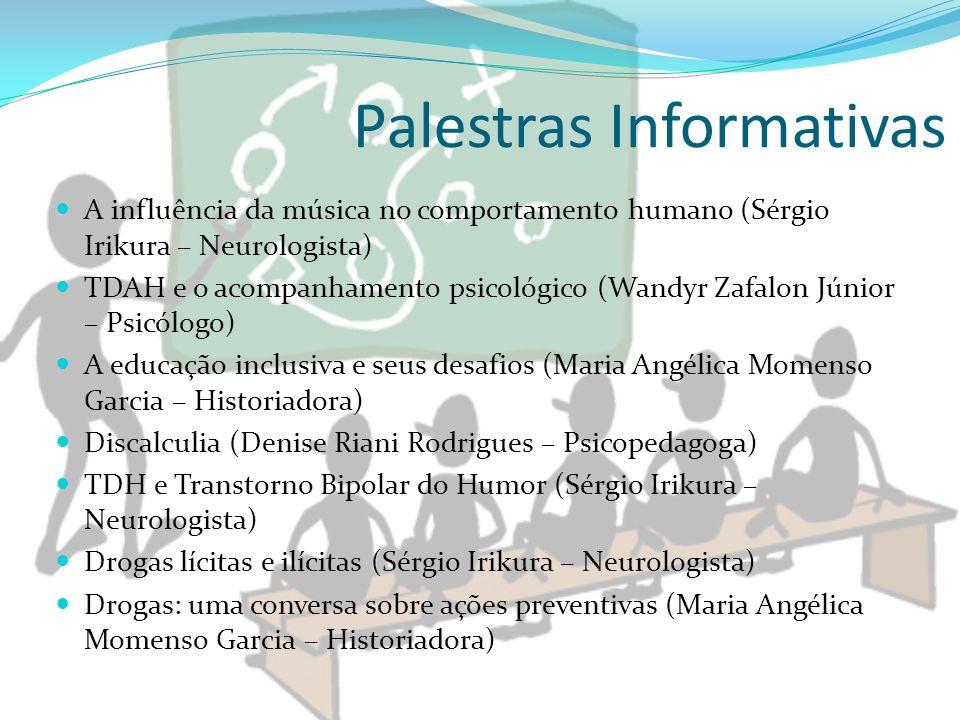 Palestras Informativas A influência da música no comportamento humano (Sérgio Irikura – Neurologista) TDAH e o acompanhamento psicológico (Wandyr Zafa