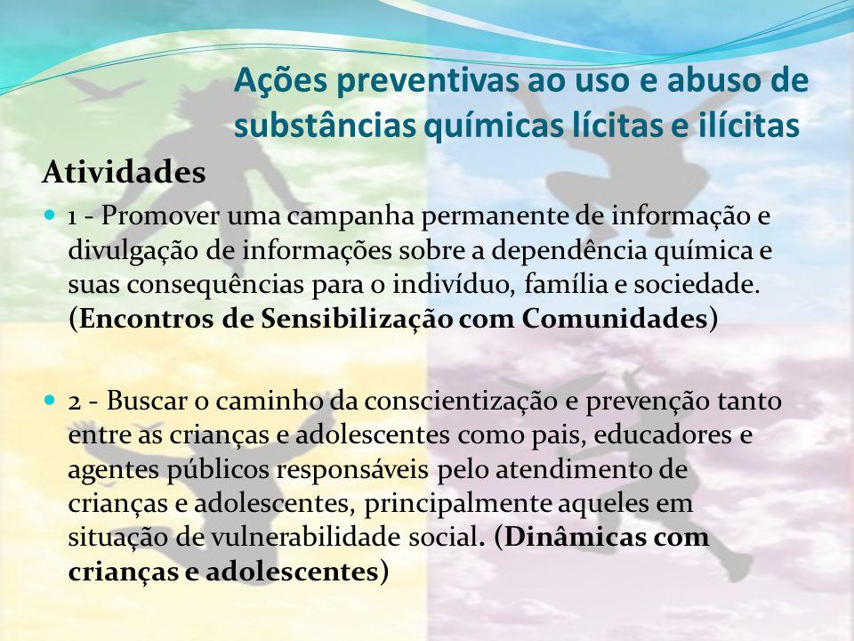 Ações preventivas ao uso e abuso de substâncias químicas lícitas e ilícitas Atividades 1 - Promover uma campanha permanente de informação e divulgação