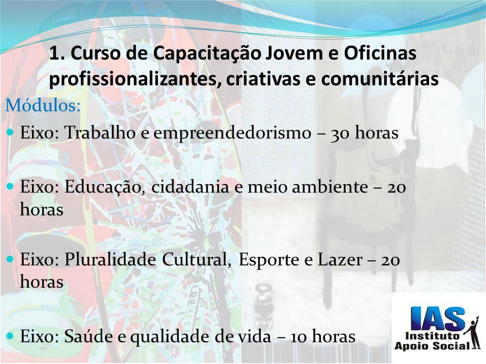 Curso de Capacitação Jovem e Oficinas profissionalizantes, criativas e comunitárias 1.