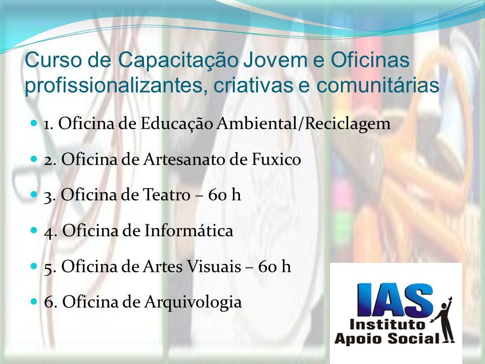 Curso de Capacitação Jovem e Oficinas profissionalizantes, criativas e comunitárias 1. Oficina de Educação Ambiental/Reciclagem 2. Oficina de Artesana