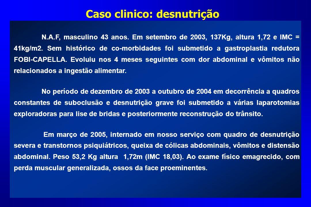 Caso clinico: desnutrição N.A.F, masculino 43 anos. Em setembro de 2003, 137Kg, altura 1,72 e IMC = 41kg/m2. Sem histórico de co-morbidades foi submet