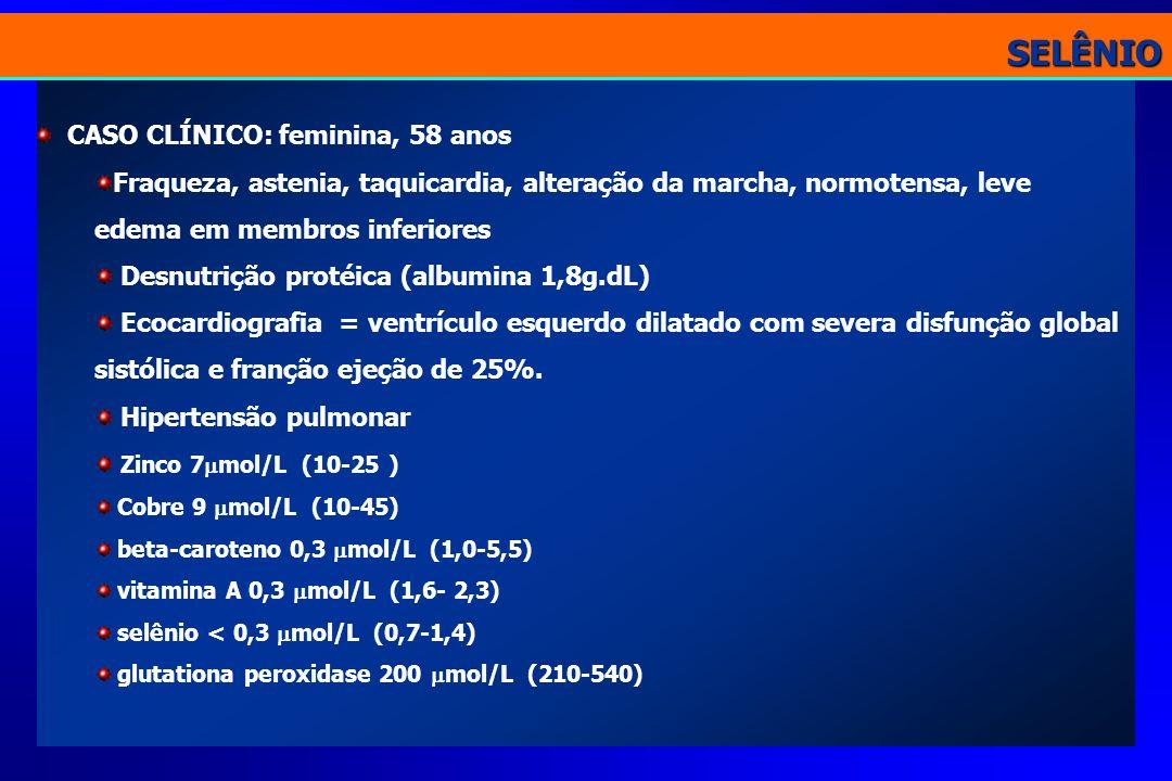 CASO CLÍNICO: feminina, 58 anos Fraqueza, astenia, taquicardia, alteração da marcha, normotensa, leve edema em membros inferiores Desnutrição protéica