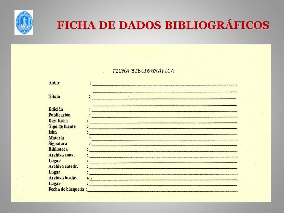 FICHA DE DADOS BIBLIOGRÁFICOS